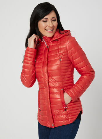 Novelti - Quilted Coat, Red,  reflective, glow, machine washable, spring 2019