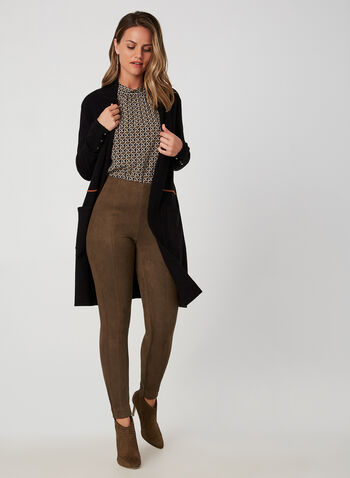 Faux Suede Slim Leg Pants, Brown, hi-res,  pants, slim leg, pull on, faux suede, fall 2019, winter 2019