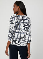 Abstract Print Jersey Top, White, hi-res