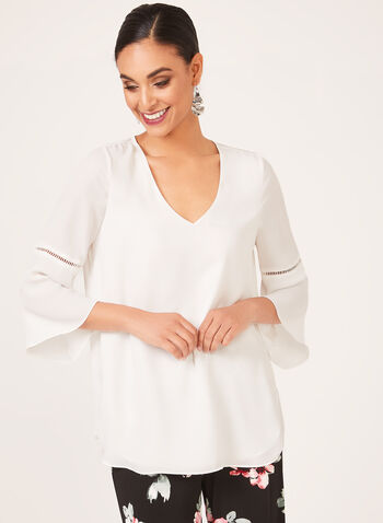 Pointelle Trim ¾ Bell Sleeve Blouse, Off White, hi-res