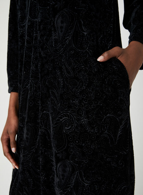 Hamilton - Zip Front Velvet Nightgown, Black, hi-res