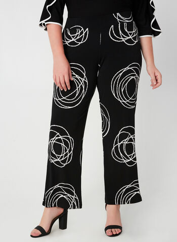 Compli K - Pantalon jambe large à motif abstrait, Noir, hi-res,  automne hiver 2019, pantalon, jambe large, motif abstrait, Canada