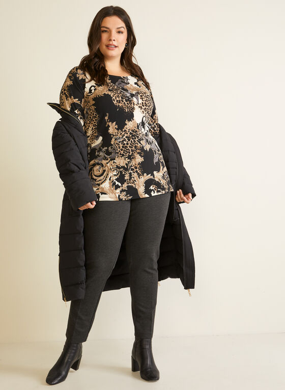 Baroque Print Ruffled Sleeve Top, Black