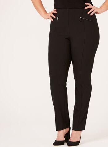Pantalon pull-on à jambe droite , Noir, hi-res