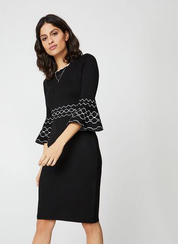 Bell Sleeve Knit Dress, Black,  fit and flare, 3/4 sleeves, scalloped nekline, knit, geometric pattern, fall 2019, winter 2019