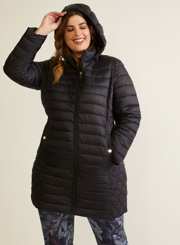 Packable Quilted Coat, Black,  coat, quilted, packable, synthetic down, good, fall winter 2020