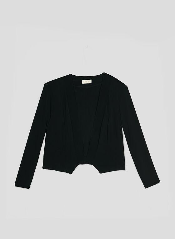 Open Front Jersey Top, Black, hi-res