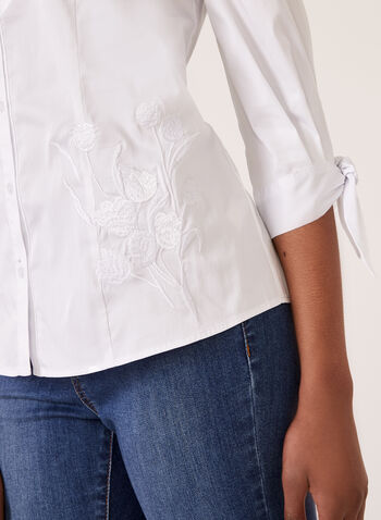 Embroidered Button Front Shirt, White, hi-res