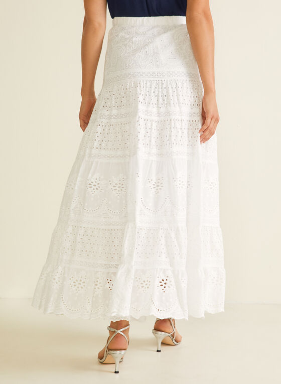 English Lace Maxi Skirt, White