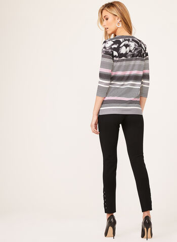 Floral & Stripe Print Top, Black, hi-res