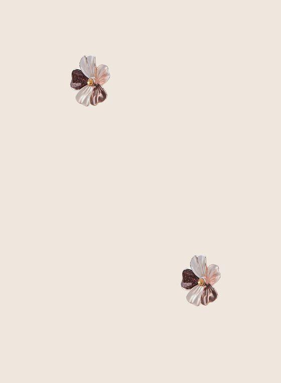 Clous d'oreilles fleurs, Brun