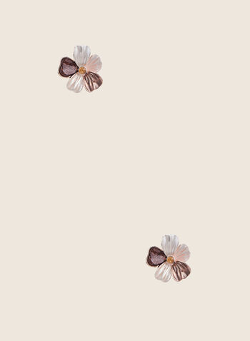 Flower Stud Earrings, Brown,  earrings, studs, crystals, flower, spring summer 2020