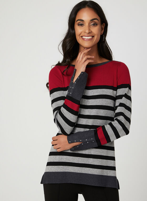 Long Sleeve Stripe Print Sweater, Grey, hi-res
