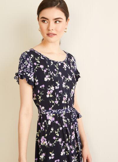Floral Print Ruffle Sleeve Dress