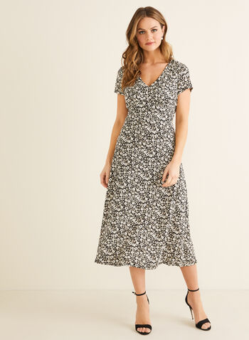 Fit & Flare Jersey Dress, Black,  spring summer 2020, jersey fabric, fit & flare, V-neck, puff print, floral, day dress