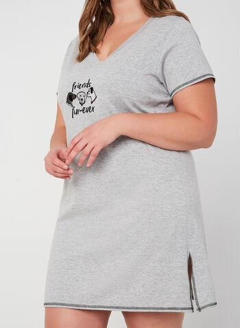 René Rofé - Chemise de nuit à appliqué chien, Gris, hi-res,  pyjama, chemise de nuit, chien, manches courtes, coton, automne hiver 2019