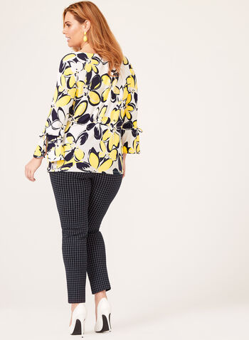 Floral Print Bell Sleeve Top, Yellow, hi-res