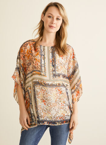 Floral Print Poncho Blouse, White,  blouse, kimono, floral, patchwork, camisole, Spring 2020