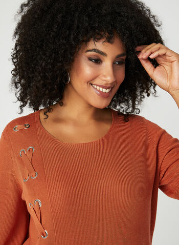 Bell Sleeve Knit Top, Orange, hi-res