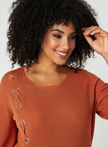 Pull en tricot à détails lacet et œillets, Orange, hi-res