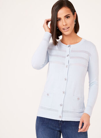 Crew Neck Knit Cardigan , Blue, hi-res