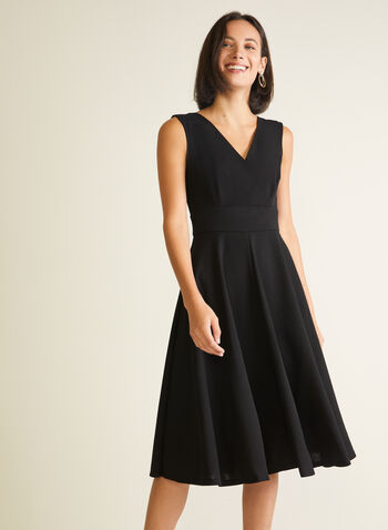 Sleeveless Fit & Flare Dress, Black,  cocktail dress, sleeveless, v-neck, crossover, scuba, fit & flare, spring summer 2020
