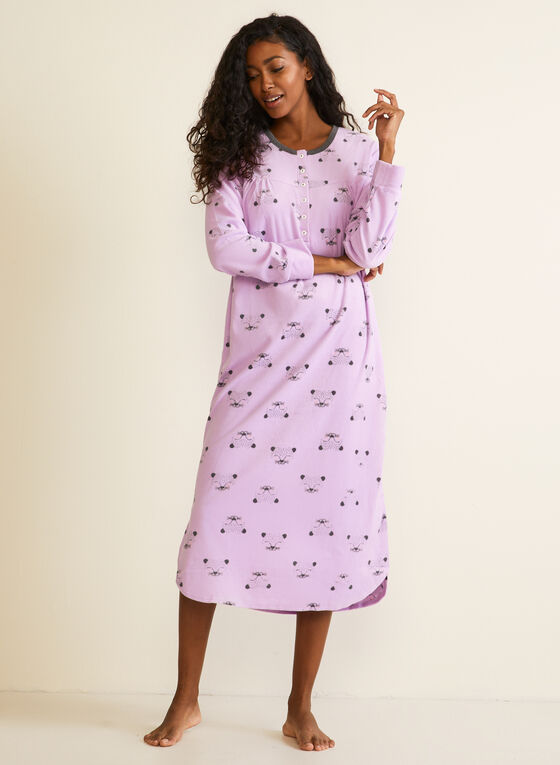 Animal Print Microfleece Nightshirt, Purple