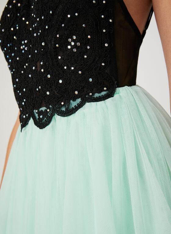 Crystal Lace Fit & Flare Dress, Black, hi-res