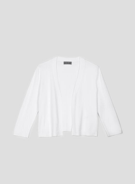 Boléro en tricot à manches ¾, Blanc cassé, hi-res