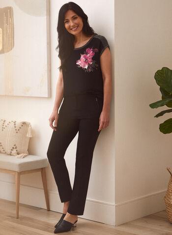 Floral Print Shimmer Detail Tee, Black,  fall 2021, top, tee, shirt, blouse, floral, print, pattern, shimmer, lurex, trim, contrast, border, hem, rounded hem, scoop neckline, drop shoulder, metallic, stretch, comfy