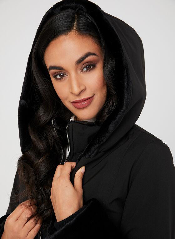 Marcona - Faux Fur Trim Coat, Black, hi-res