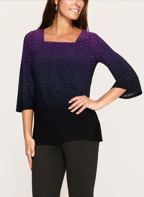 ¾ Bell Sleeve Jersey Top, Red, hi-res