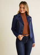 Faux Suede Jacket, Blue