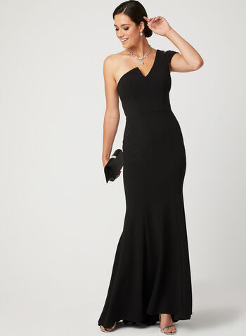 One Shoulder Mermaid Dress, Black, hi-res
