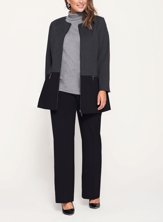 Two-Tone Ponte Jacket , Grey, hi-res