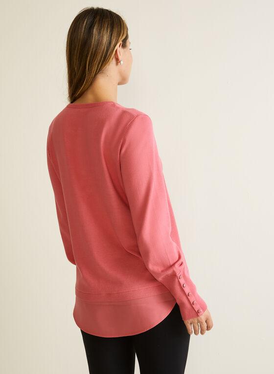 Button Detail Fooler Sweater, Pink