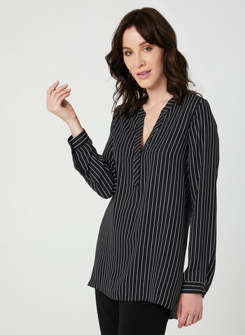 Stripe Print Blouse, Black, hi-res,  blouse, long sleeves, stripe print, crepe, fall 2019, winter 2019