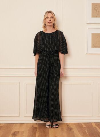 Capelet Overlay Jumpsuit, Black,  spring summer 2020, chiffon, capelet, chiffon , dot print, wide leg