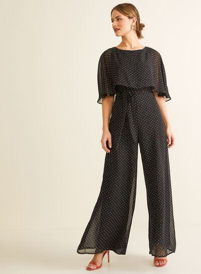 Capelet Overlay Jumpsuit