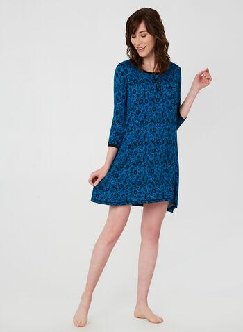 René Rofé - Paisley Print Nightgown, Blue,  fall winter 2019, 3/4 sleeves, paisley print