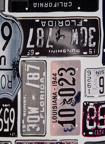 License Plate Print Scarf, Grey, hi-res