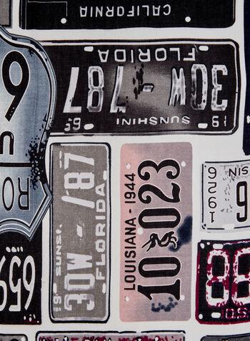 Foulard léger à imprimé plaques de voiture, Gris, hi-res