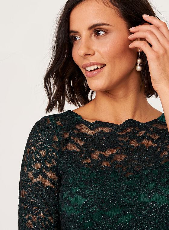 Ombré Glitter Lace Sheath Dress , Green, hi-res