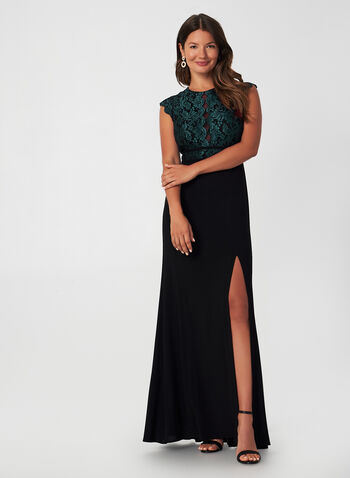 Lace Bodice Dress, Black, hi-res,  fall winter 2019, jersey, lace, glitter, long gown