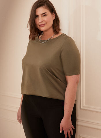 Elbow Sleeve Tee, Green,  spring summer 2021, t-shirt, top, elbow sleeves, boat neck, rounded hemline