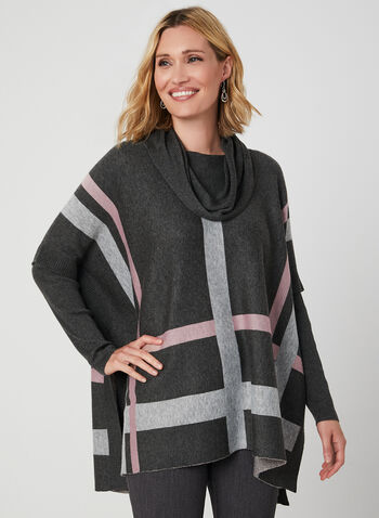 Cowl Neck Poncho Sweater, Grey, hi-res,  poncho, knit, long sleeves, ribbed, paid print, fall 2019, winter 2019