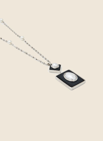 Geometric Pearl Pendant Necklace, Off White,  necklace, pearl, rectangle, lozenge, pendant, long, fall winter 2020