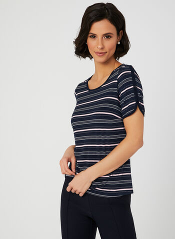 Stripe Print Jersey T-shirt, Blue, hi-res