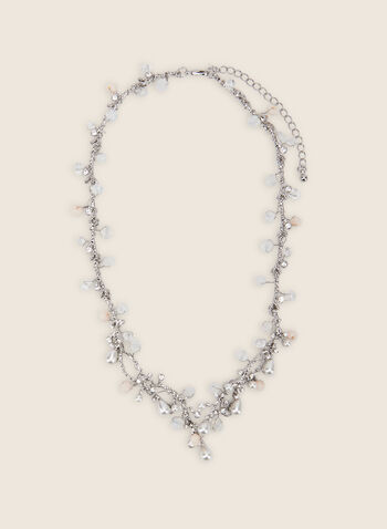 Pearl & Crystal Necklace, Off White,  necklace, pearl necklace, crystals, crystal necklace, spring 2020, summer 2020