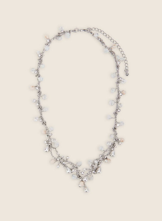 Pearl & Crystal Necklace, Off White